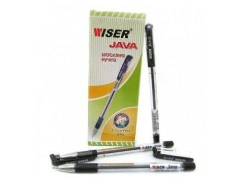 Ручка Wiser Java шариков. масл. 0,7мм. с грипом черная (12/144/1728)