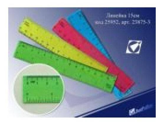 Линейка J.Otten 23875-3 15см. прозр. пластиков. цветн. (25/100/3000), фото 2