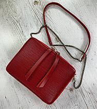 65-6 Натуральная кожа, Сумка женская через плечо красная Кожаная сумка женская из натуральной кожи красная, фото 3