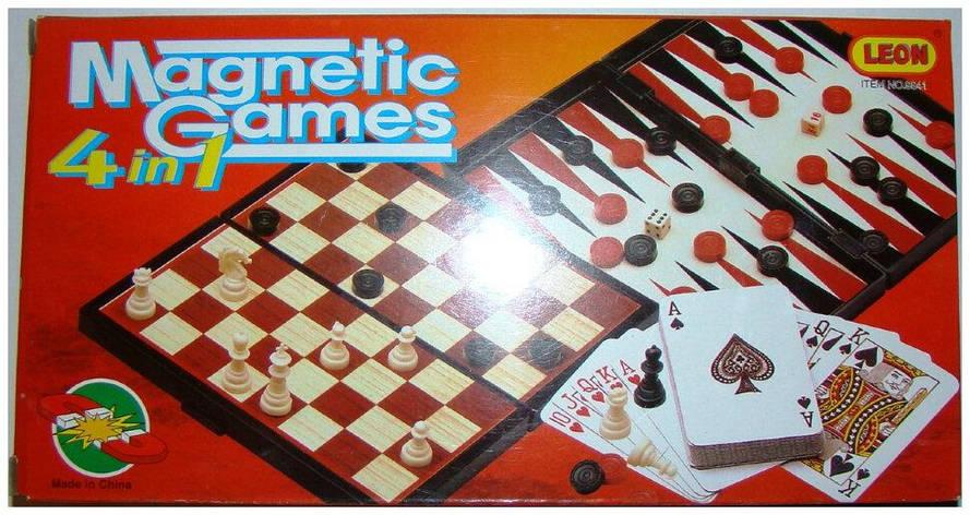 Шахматы магнитные 4в1 в кор. 25х13х3,5см. 9841 (48), фото 2