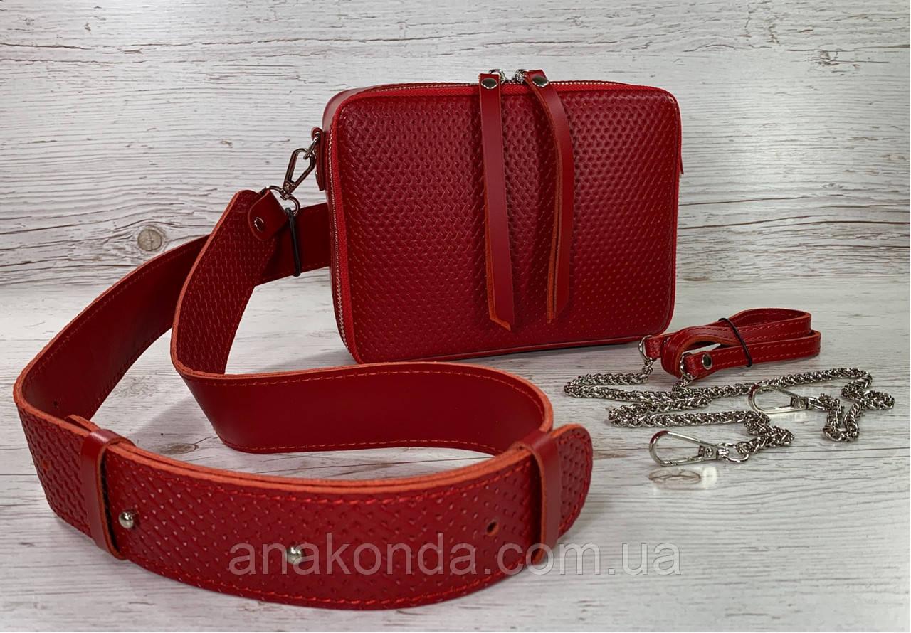 65-62р Натуральная кожа Сумка женская кросс-боди красная Кожаная сумка женская через плечо красная