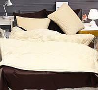 Двуспальный комплект постельного белья зима-лето Бежевый