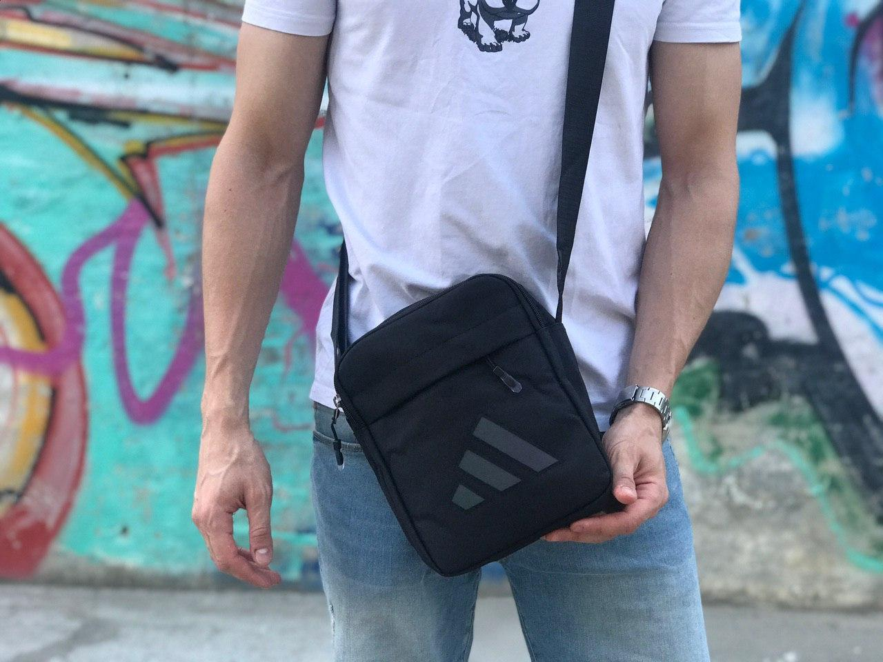 Мужская черная сумка на плече Adidas