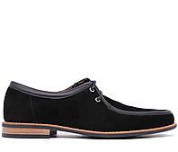 Мужские натуральные замшевые демисезонные черные классические туфли средний каблук Польша
