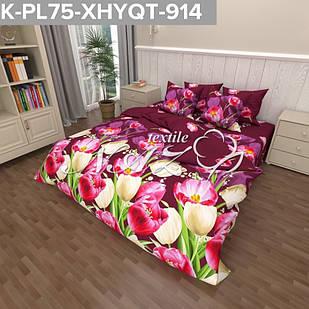 Тюльпан бордовый - Бязь 3D - Полуторный комплект