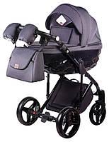 Детская всесезонная коляска для новорожденных 2 в 1 Adamex Chantal C201 Графитовый