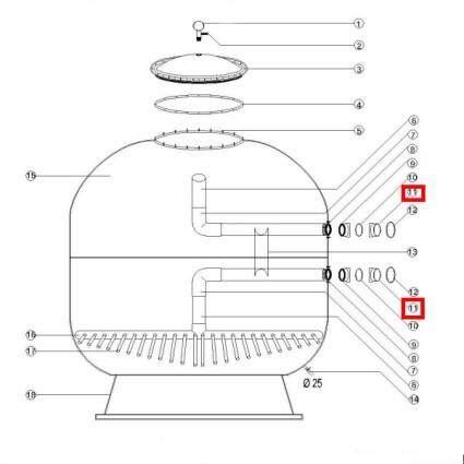 Aquaviva Фланець для кріплення 5 кранової обв'язки 1400 мм Aquaviva