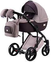 Всесезонная детская коляска для новорожденных 2 в 1 универсальная Adamex Luciano Y59 Светло-сиреневый лен - Темно-сиреневая кожа