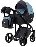 Всесезонная детская коляска для новорожденных 2 в 1 универсальная Adamex Luciano jeans Y40 Графит джинс - Голубой меланж