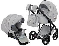 Всесезонная детская коляска для новорожденных 2 в 1 универсальная Adamex Luciano jeans Q1-CZ Светло-серый