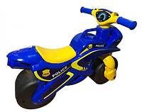 Детский байк беговел толокар для детей в виде мотоцикла ПОЛИЦИЯ для толкания ногами DOLONI TOYSСиний