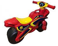 Детский байк беговел толокар для детей в виде мотоцикла ПОЛИЦИЯ для толкания ногами DOLONI TOYSКрасный