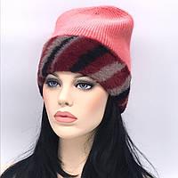Трикотажная шапочка с цветным отворотом. Цвет коралловый.