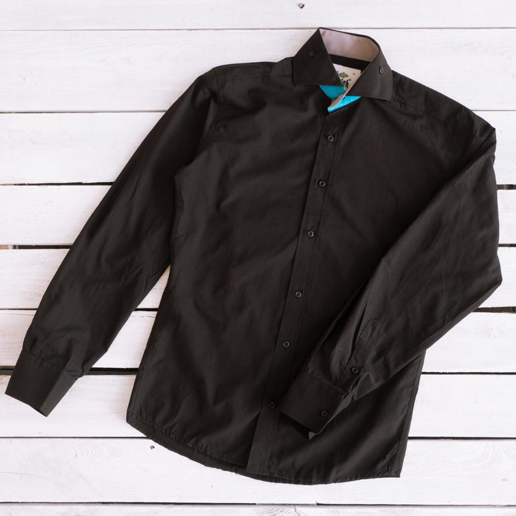 1465-3-01 Afish рубашка мужская черная (S-XXL, 6 ед.)