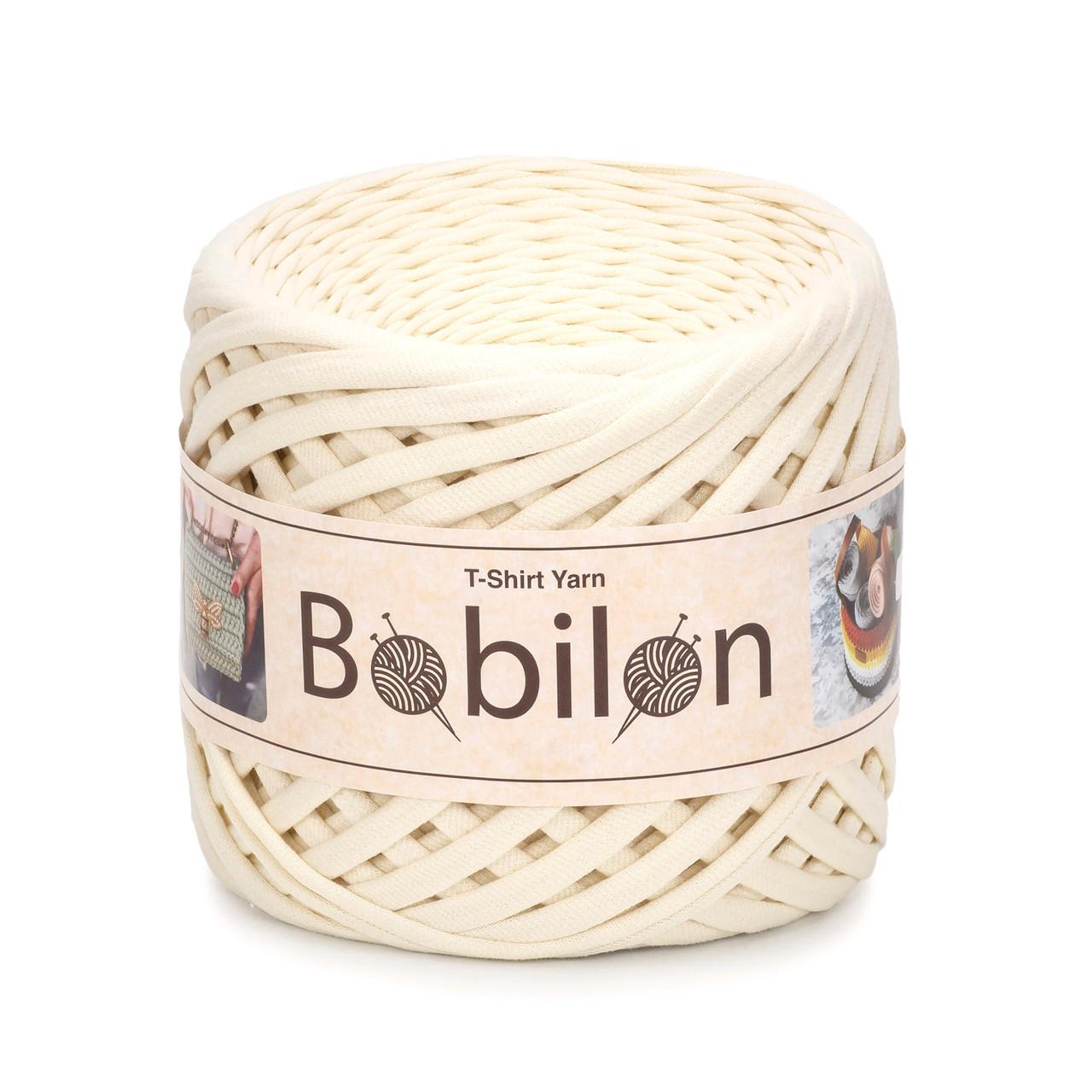 Трикотажная пряжа Bobilon Medium (7-9 мм) Vanilla Кремовый
