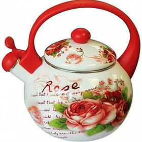 Чайник эмалированный со свистком 2,2 л Red Rose для плиты 33/L