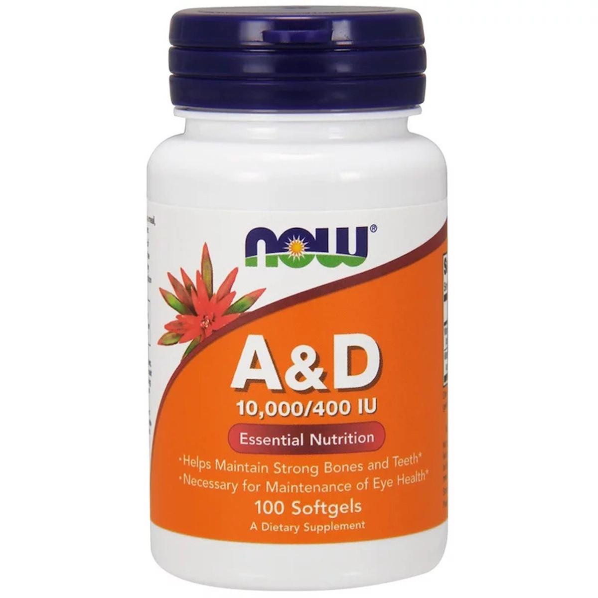 Витамин А и Д, A&D, Essential Nutrition, Now Foods, 10,000/400 МЕ, 100 желатиновых капсул