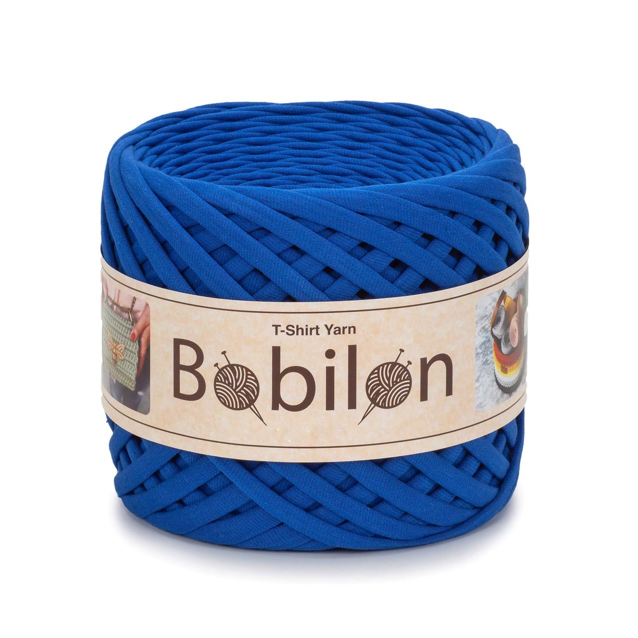 Пряжа трикотажна Бобилон Micro (3-5мм). Синій електрик