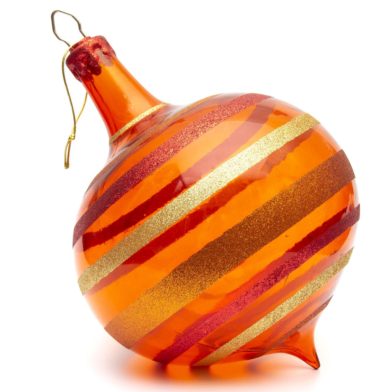 Большая елочная игрушка - луковица, 22 см, пластик, оранжевый (110346)