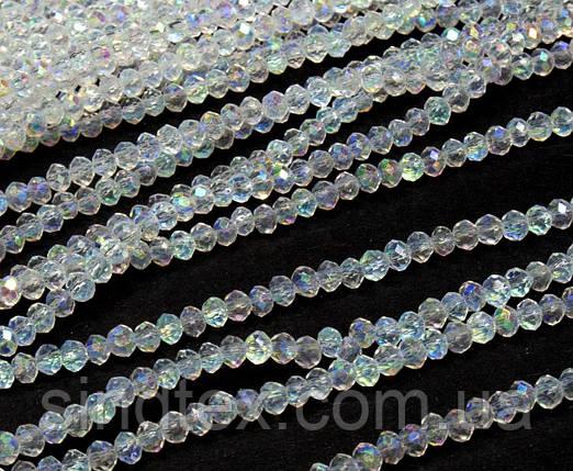 Бусины граненые 2х2мм кол-во: 180-190 шт, прозрачный с  АБ бочком (сп7нг-1286), фото 2