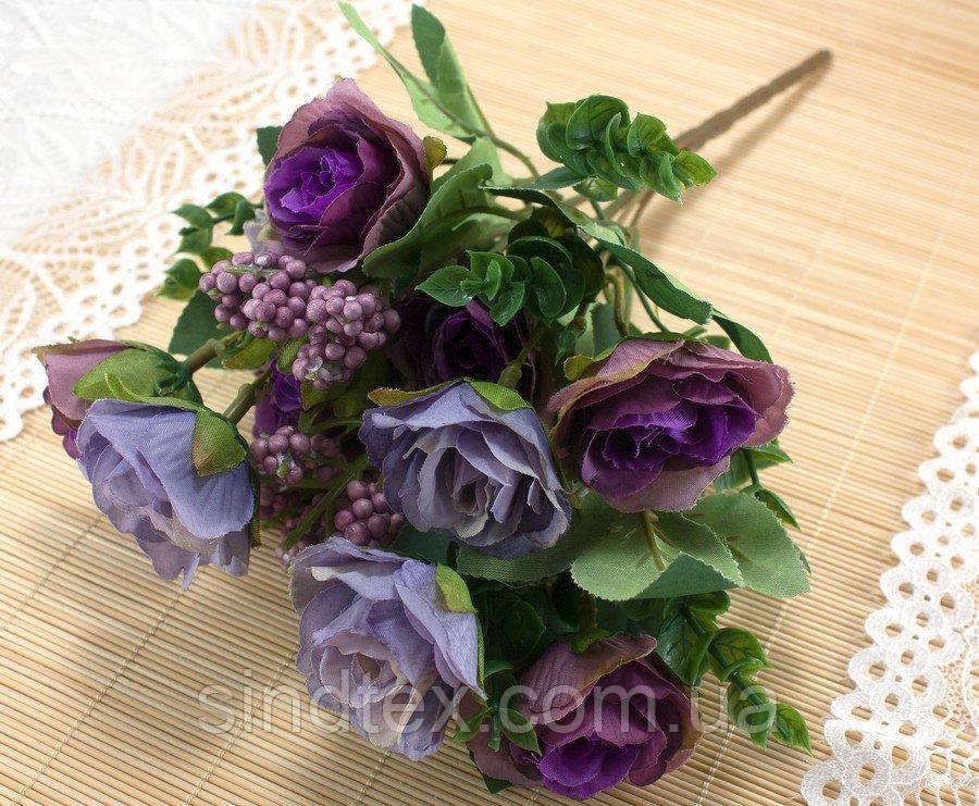 Букет чайной розы, 30см, цветы для декора, Фиолетовый (сп7нг-3032)