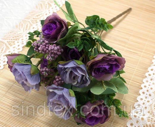 Букет чайной розы, 30см, цветы для декора, Фиолетовый (сп7нг-3032), фото 2
