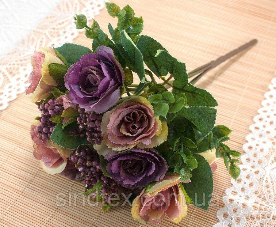 Букет чайной розы, 30см, цветы для декора, Сиреневый с молочными переливами (сп7нг-3035)