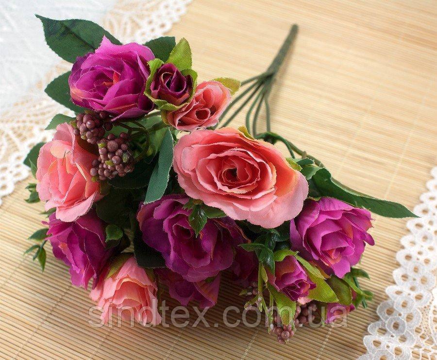 Букет чайной розы, 30см, цветы для декора, Розово-алый (сп7нг-3036)