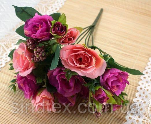Букет чайной розы, 30см, цветы для декора, Розово-алый (сп7нг-3036), фото 2