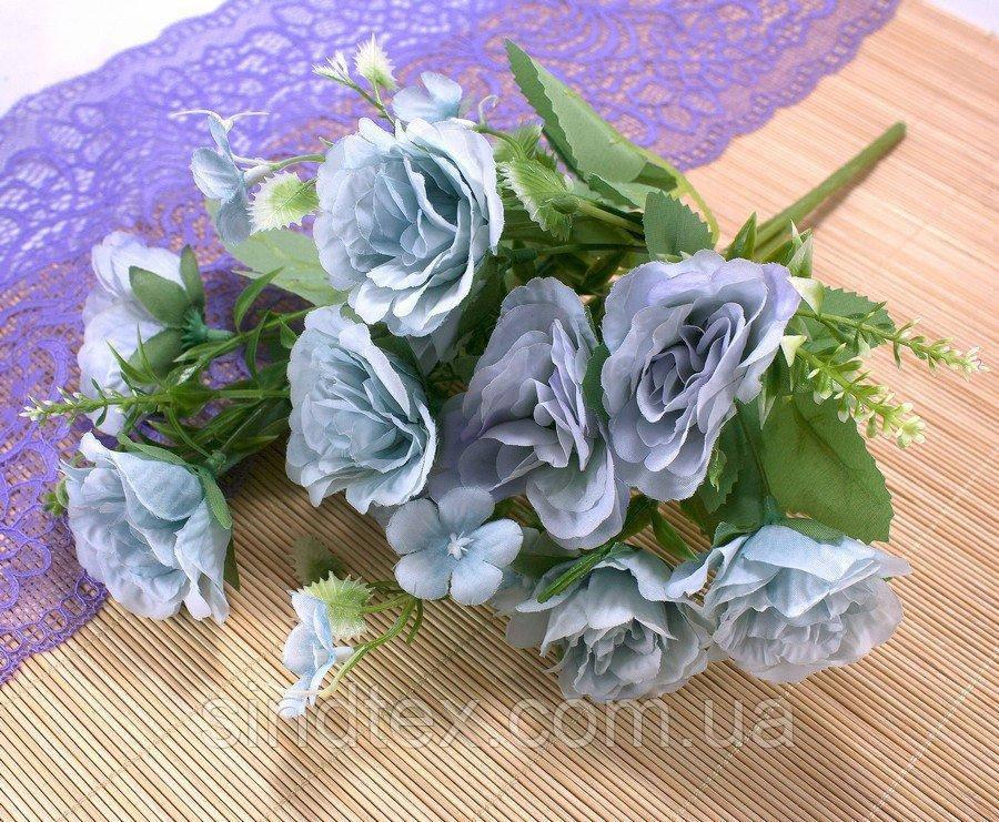 Букет роз  Прованс, 27см, Искусственные цветы, Голубой (сп7нг-2937)