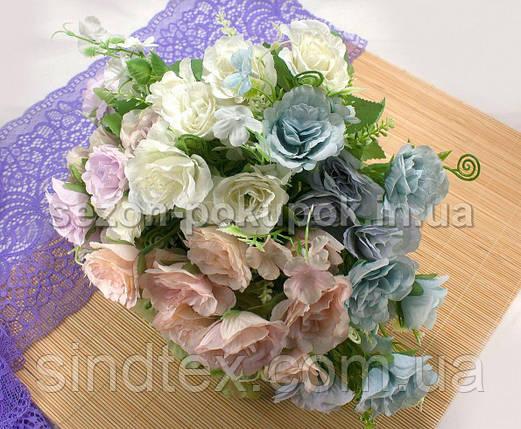 Букет роз  Прованс, 27см, Искусственные цветы, Голубой (сп7нг-2937), фото 2