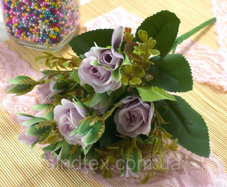 Букет розочек, 25см, Искусственные цветы, Сиреневый (пастель) (сп7нг-2861)