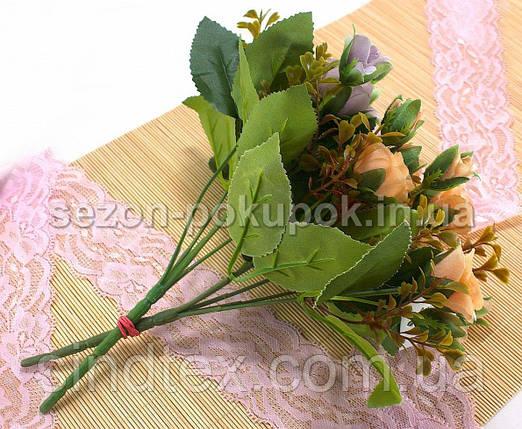 Букет розочек, 25см, Искусственные цветы, Сиреневый (пастель) (сп7нг-2861), фото 2