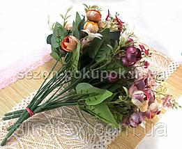 Букет ранункулюсов с блеском, 27см, букет декор, Бордо (сп7нг-2928), фото 2