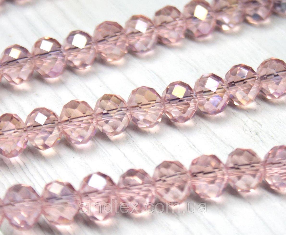 Бусины хрустальные (Рондель) 8х6мм  пачка - примерно 70 шт, цвет - прозрачные розовые с АБ (сп7нг-1907)