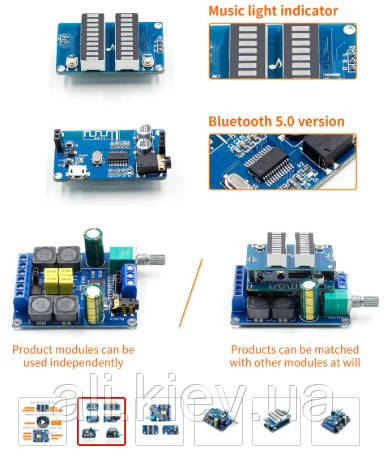 DIY Підсилювач потужності 2*50 Вт TPA3116D2 плата +вимірювач рівня + Bluetooth 5,0 модуль, набір зроби сам.