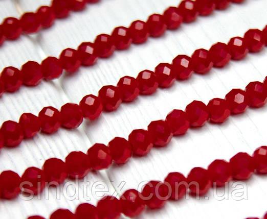 Бусины хрустальные (Рондель)  6х4мм пачка - 95-105 шт, непрозрачные красные глянцевые (сп7нг-1498), фото 2