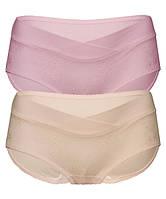0255 Трусы для беременных с  кружевом комплект из 2 штук беж и розовые, фото 1
