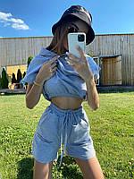 Летний спортивный костюм с шортами и свободной футболкой на резинке и с капюшоном 71051011, фото 1