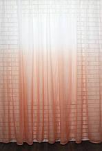 """Тюль растяжка """"Омбре"""" на батисте (под лён) с утяжелителем, цвет персиковый с белым 578т"""