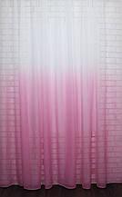 """Тюль растяжка """"Омбре"""" на батисте (под лён) с утяжелителем, цвет розовый с белым 575т"""