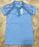 Блузка школьная подростковая для девочек с гипюром короткий рукав 10-16 лет, голубого цвета