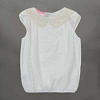 Блузка для девочки р.122,128,134,140,146,152 SmileTime короткий рукав Claire с воротником, молочный