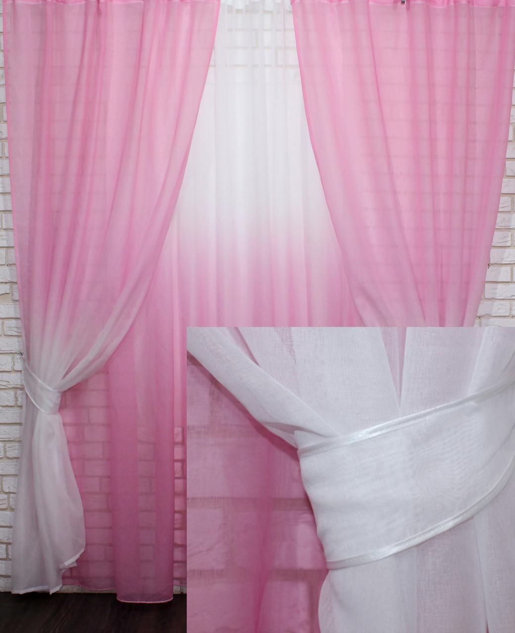 """Омбре"", ткань батист, под лён. На карниз 2-3м.  Цвет розовый с белым 031дк 575т"