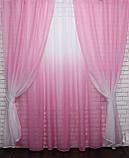 """Омбре"", ткань батист, под лён. На карниз 2-3м.  Цвет розовый с белым 031дк 575т, фото 3"