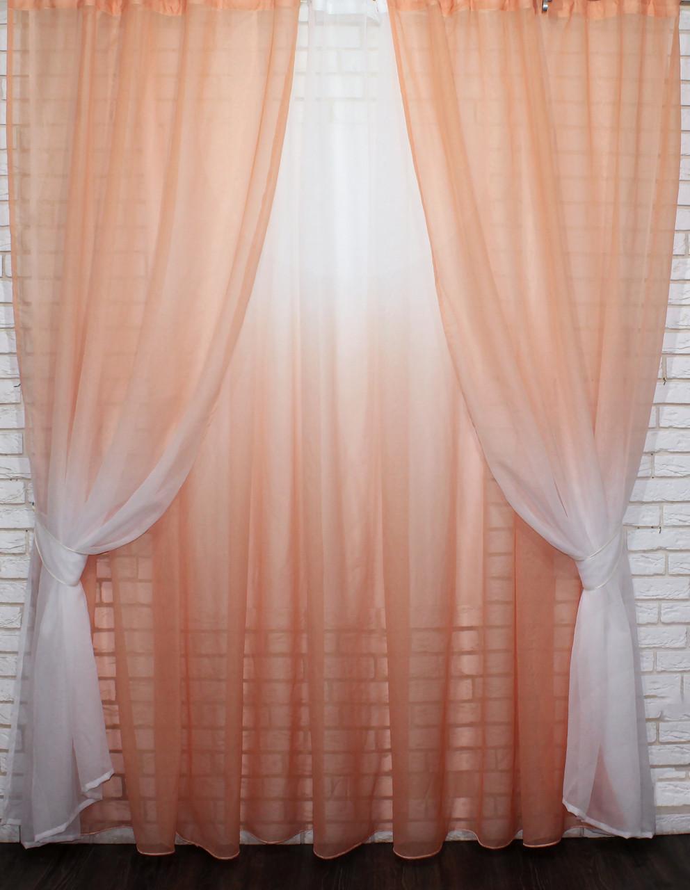 """Омбре"", ткань батист, под лён. На карниз 2-3м.  Цвет персиковый с белым 031дк 578т"