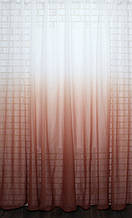 """Тюль растяжка """"Омбре"""" на батисте (под лён) с утяжелителем, цвет терракотовый с белым 577т"""