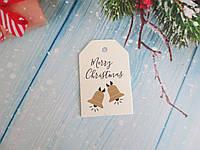 "Новорічна бирка ""Merry Christmas"", 68х45 мм, 1 шт"