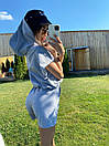 Летний спортивный костюм с шортами и свободной футболкой на резинке и с капюшоном 71so1011, фото 3