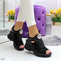 Женские черные спортивные босоножки из сетки OB6727